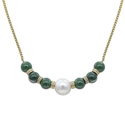 0d0c5533ca17 Stellia preciosos Ramsden perla y Jade Collar 22 K Oro Cadena  Amazon.es   Joyería