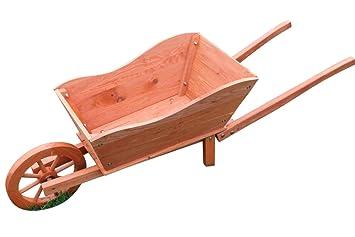 Jardinera de madera para el jardín con forma de carretilla con ruedas: Amazon.es: Jardín