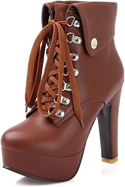 de0af143b6c0 leanna Women s Winter Party Fashion Waterproof Platform Chunky High Heel  Lace Up Zipper Closure Brown Ankle