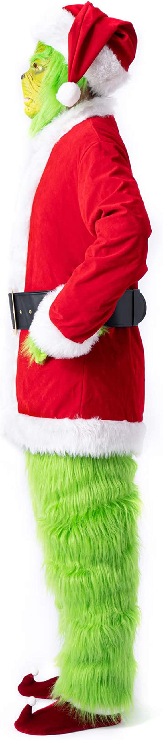 Grinch Costume for Men 7pcs Christmas Santa Suit Deluxe Furry Adult with Grinch Mask