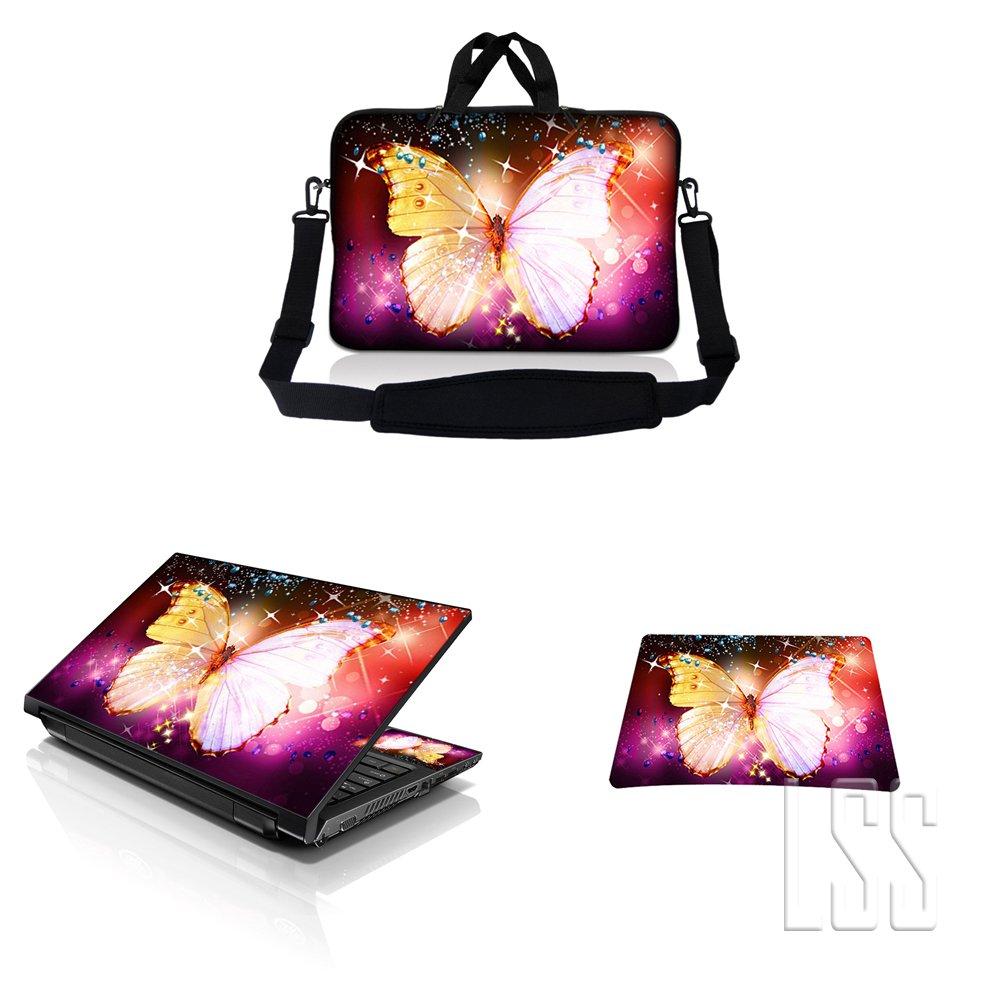 新作商品 ノートパソコン& MacBook ProスリーブバッグキャリーケースW/ハンドル&調節可能なショルダーストラップ& Matchingスキンステッカー&マウスパッドFits Sparkling 12 Butterfly