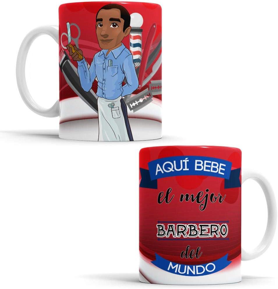 OyC Original y Creativo Taza para Barbero - Taza Aquí Bebe el Mejor Barbero del Mundo - Taza Regalo para Barbero - Taza con Frase y Dibujo (Barbero)