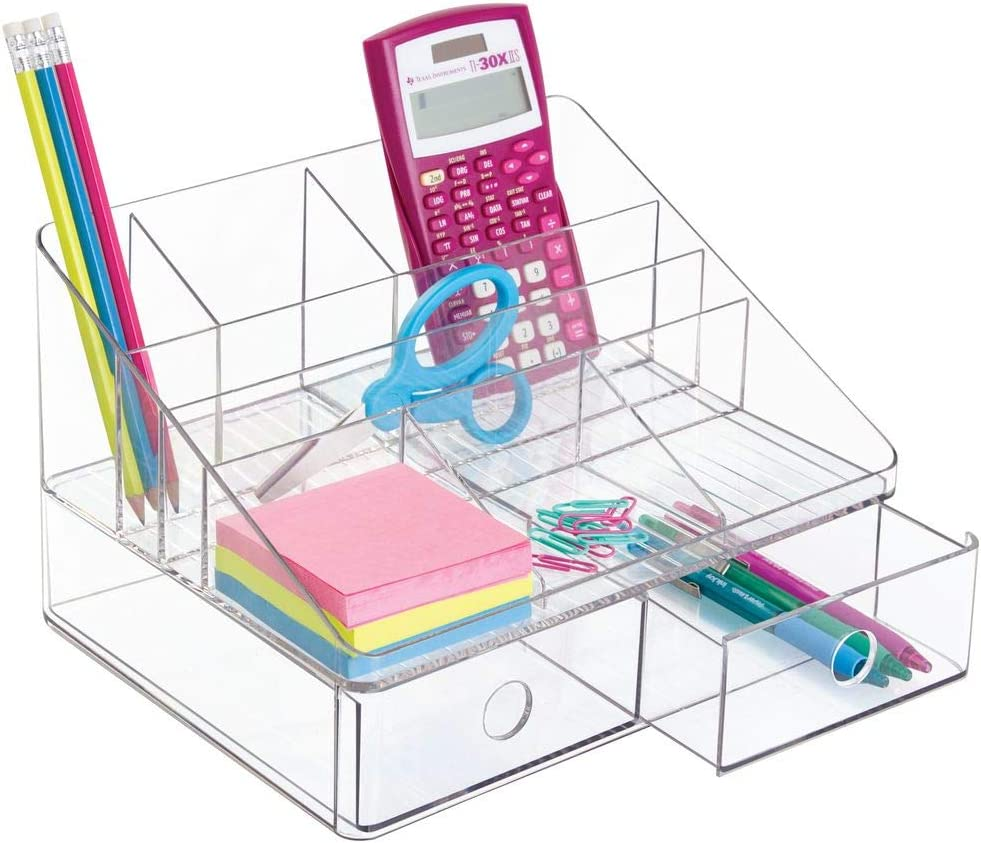 "iDesign Linus Plastic Tiered Divided Desk Organizer with Drawers for Storage of Office and School Supplies, Makeup, Accessories on Vanity, Countertop, or Cabinet, 7.5"" x 10"" x 6.5"" - Clear"