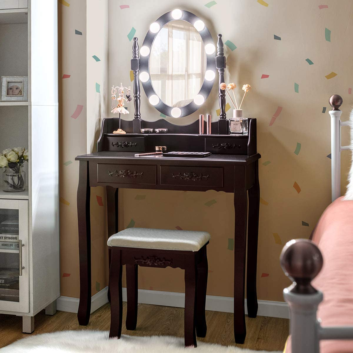 Giantex Vanity Table Set with 10 LED Lights, Makeup Dressing Table w Lighted Oval Mirror and Touch Switch, Brightness Adjustable,4 Drawers Makeup Dressing Desk w Cushioned Stool Set Dark Brown
