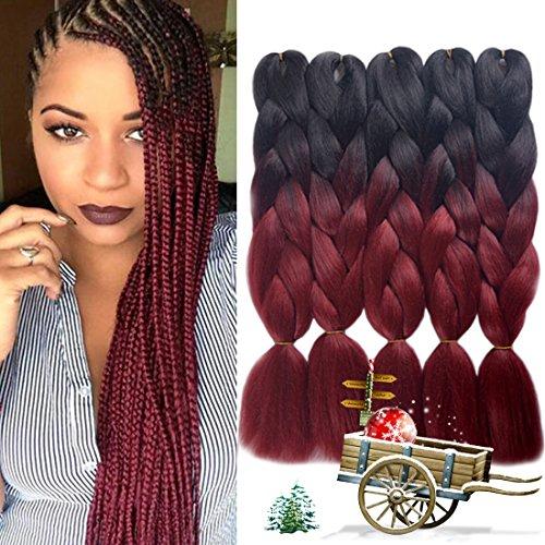 - Urqueen Ombre Kanekalon Braiding Hair 5pcs/lot Synthetic Hair Extensions Two Tone Braiding Hair 100g/pcs Kanekalon Fiber For Twist Braiding Hair (Dark-Burgundy)