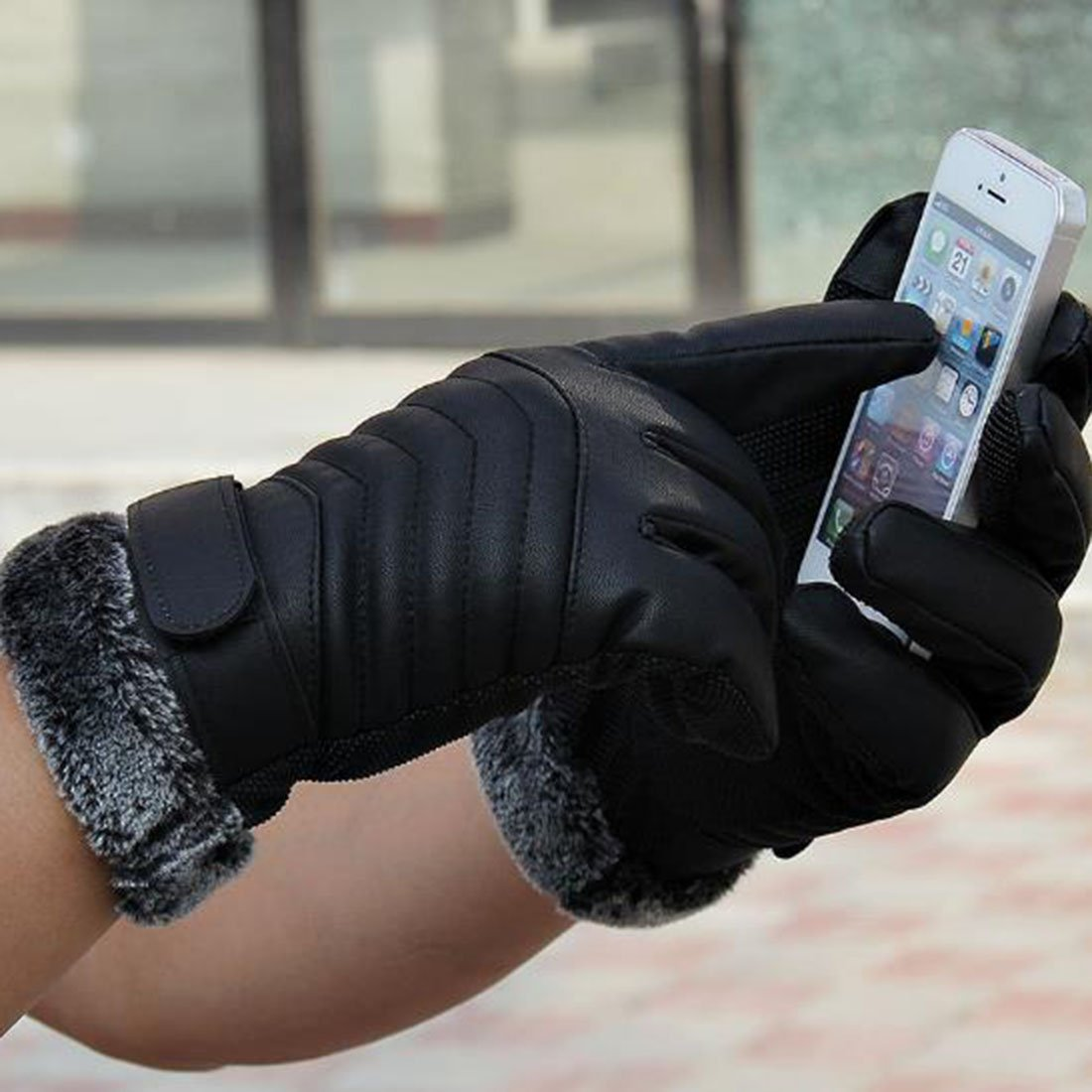 Mens Touch Screen Winter Warm Leather Gloves Outdoor Cycling Windproof Mitten