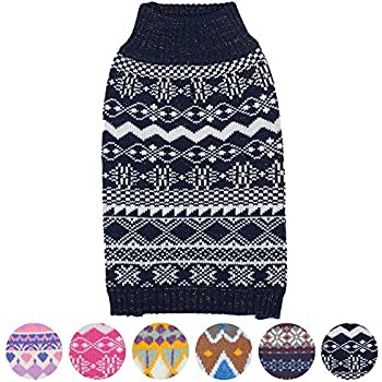 """Blueberry Pet 6 Patterns Vintage Tinsel Knit Fair Isle Dog Sweater in Midnight Blue, Back Length 20"""", Pack of 1 Clothes for Dogs"""