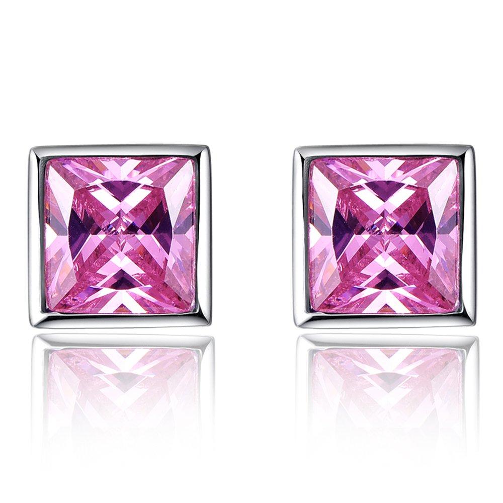 Merthus 925 Sterling Silver Simple Created Pink Topaz Ear Stud Earrings for Women Wedding Jewelry Eardrop Gift