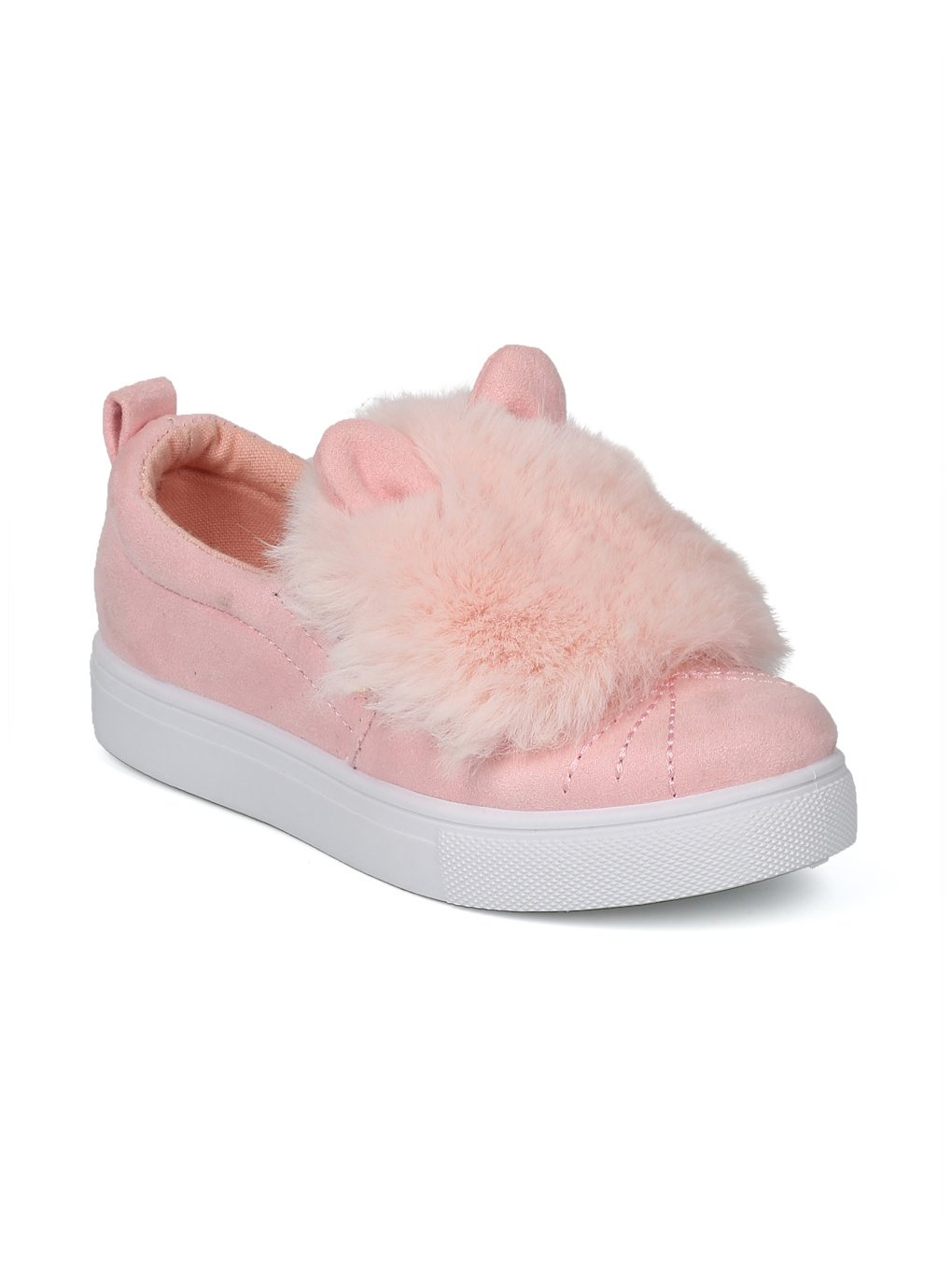 Girls Faux Suede Fuzz Pom Pom Animal Slip On Sneaker HG03 - Pink Mix Media (Size: Little Kid 13)