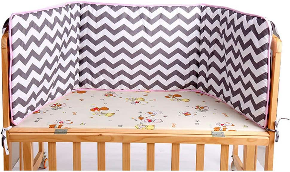 HLSUSAN Baby Cot Bumper Wrap Bedding Around Protection for Bed with Head Guard Crib Bolster Protector Breathable Cotton Cushion Newborn Gifts Purple Stripe 180 x 45cm