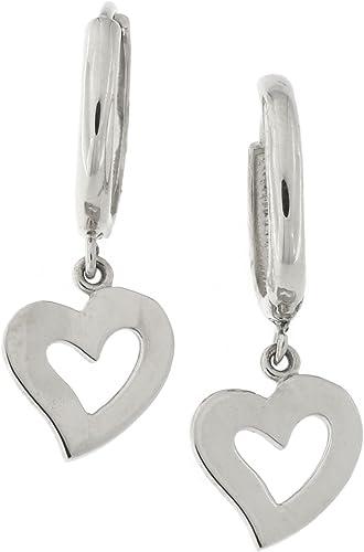 14k Yellow White Gold Dangle Puffed Heart Huggie Earrings
