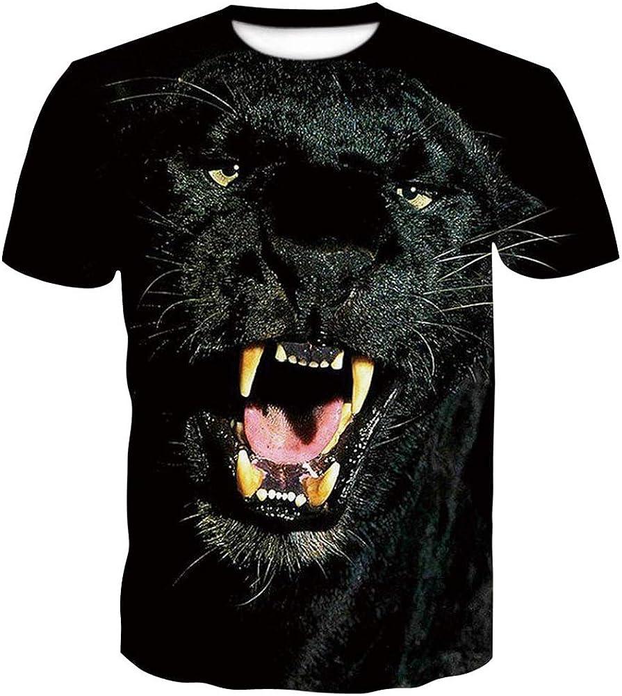 Camiseta de Verano Impresa en 3D, Camisa Modelo Pantera Negra, Funky Cuello Redondo Manga Corta, Camisetas Personalizadas para Hombre, para Hombres Chicos Adolescentes: Amazon.es: Ropa y accesorios