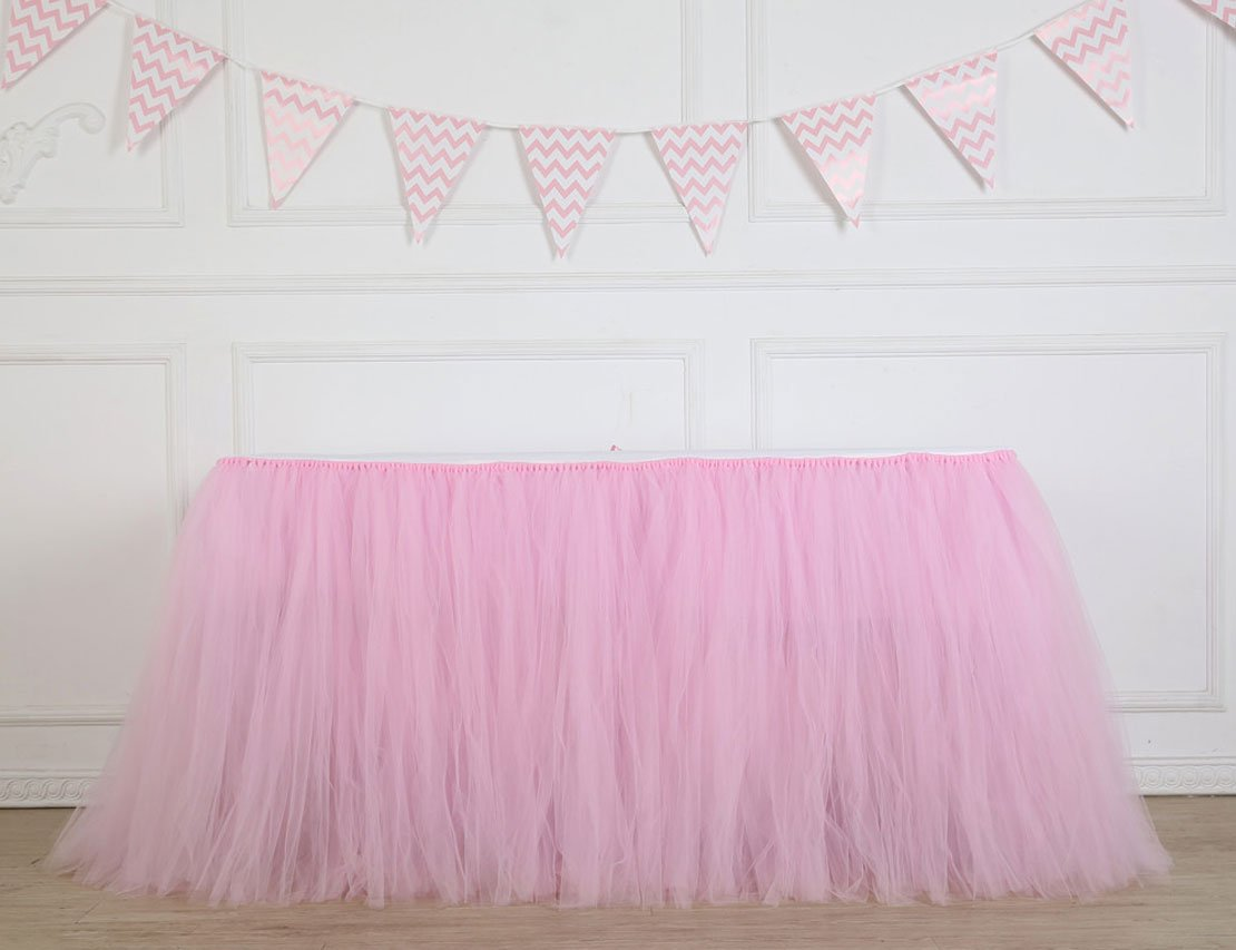 Table Skirt 1 Yard Mint Tutu Tulle Table Skirting Cover Pink Tableware For Party,Wedding,Birthday, Baby Shower (Pink) by Lansian
