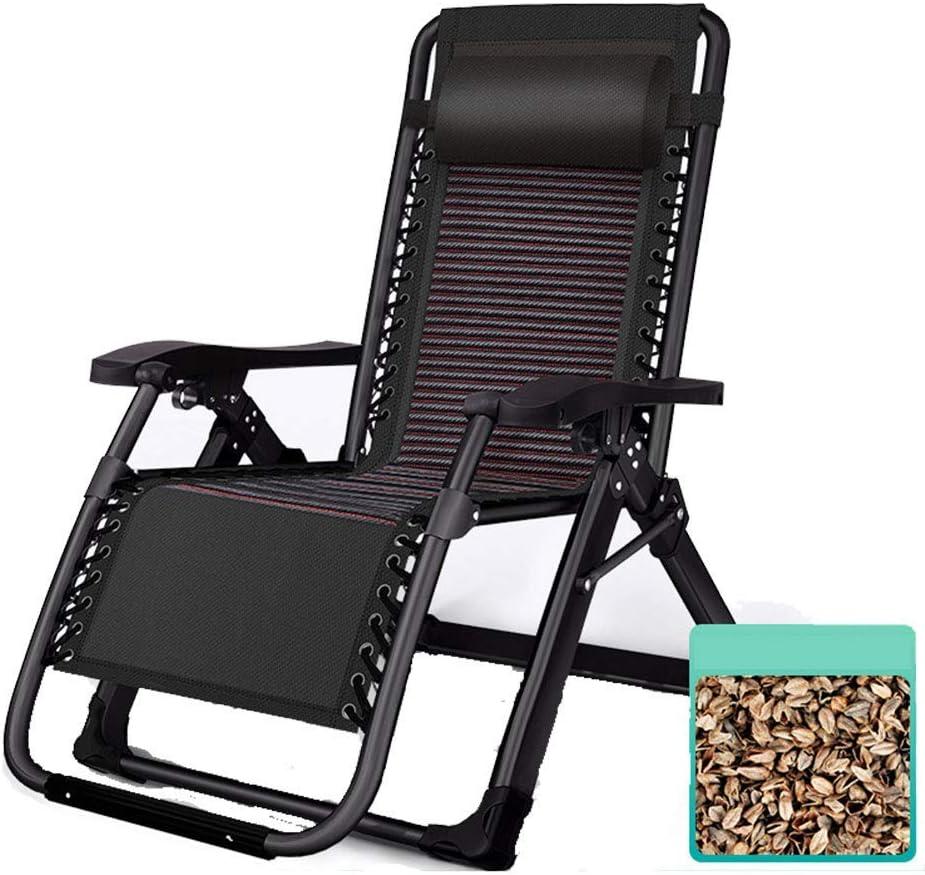 DX Sillón reclinable, sillón de jardín con Respaldo ergonómico, diseño de Almohadilla Antideslizante, para Sala de Estar, balcón, Oficina, Hospital, compañía, Negro