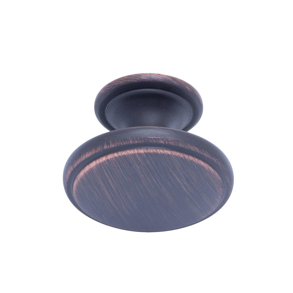 Satinierter Nickel Schubladenknopf modern Basics M/öbelgriff Durchmesser: 3,85 cm 25er-Pack mit gro/ßer runder Platte oben