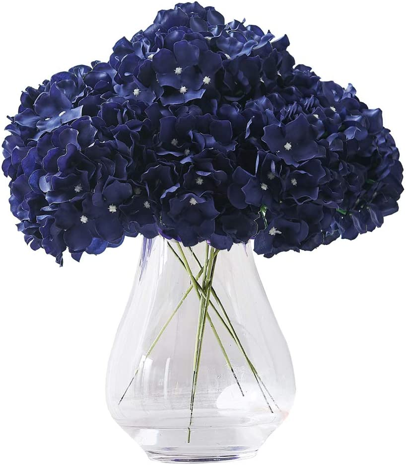 Artificial Hydrangea Flowers Navy Blue Heads 10pcs Fake Hydrangea Silk Flowers for Wedding Bouquets Centerpieces DIY Floral Decor Home Decoration with Stems