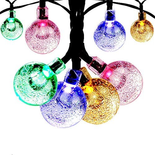 [Solar Globe String Lights Outdoor, Satu Brown 21ft 30 LED Waterproof Crystal Ball Starry Globe Fairy Lights for Home, Garden, Patio, Yard, Parties, Christmas] (Easy Starfish Costume)