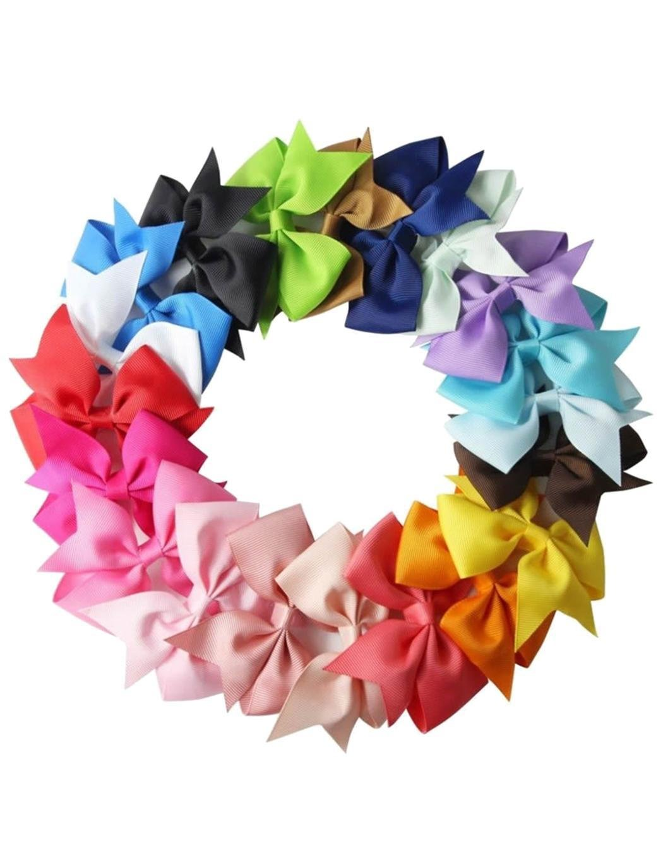 Baguet 10pcs Girls Ribbon Bow Hair Clip Kids Alligator Clips Party Hair Accessories Facial Hair Red