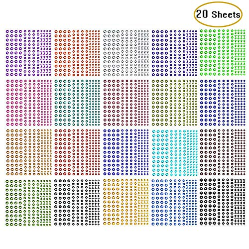 3440 Pieces Self-Adhesive Colorful Rhinestone Stickers,Kwartz Assorted 20 Colors 3 Sizes Face Gems Face Stickers Body Jewels Embellishments Sheet for Craft, Makeup, Body, Nails,Festival,Carnival (Red Craft Gems)