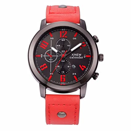 Relojes Hombre,Xinan Cuero Deporte del Acero Inoxidable Analógico de Pulsera de Cuarzo (Rojo