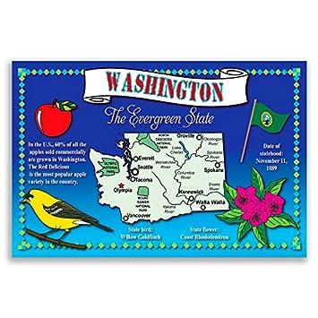 Amazoncom WASHINGTON STATE MAP Postcard Set Of Identical - Map of the state of washington usa