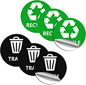 Nextpowerbox Recycle Stickers for Trash Can, Trash and Recycling Stickers, Trash Can Outdoor with Lid, Small Recycle Bin, Easy & Quick to Pull Off for Home, Office, Work, Commercial Event (6 Pack)