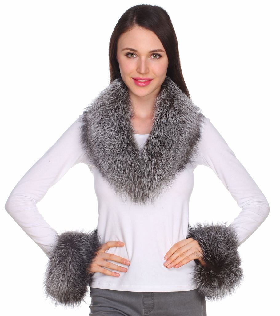 Ferand Women's Gorgeous Genuine Silver Fox Fur Shawl Collar with Matching Cuffs for Parka Leather Jacket Winter Coat,31.5 inch