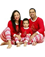 Faithtur Christmas Kids Mom Dad Two Piece Striped Matching Family Pajama Set Sleepwear