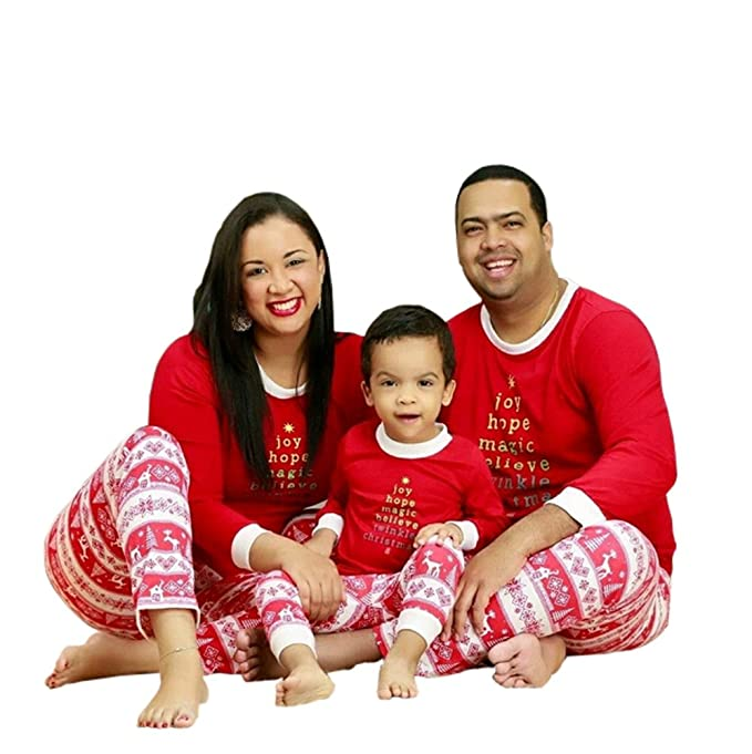 f078097c17 Faithtur Christmas Kids Mom Dad Matching Family Pajama Set One Top and One  Pants (14T