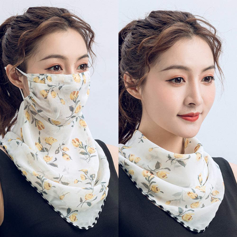GomReck 4 Pcs Women Floral Sun Mask Chiffon Neck Gaiter Sun Proof Face Mask Colorful Face Cover Outdoors Fishing UV Protection for Dust Festivals Sports Outdoors