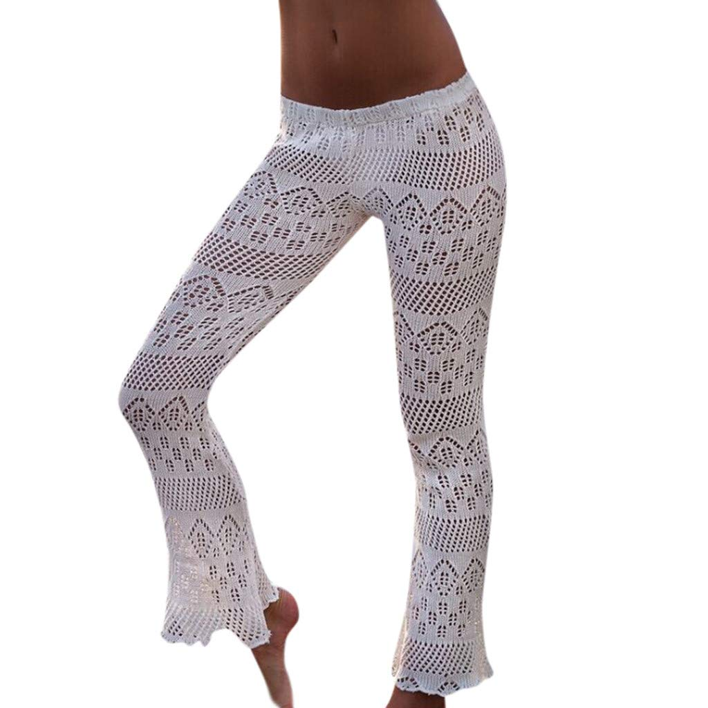 Pervobs Womens Summer Beach Knitting Horn Lady Sunscreen Ease in to Comfort Fit Hollow Out Lace Long Pants Trouser(Free, White)