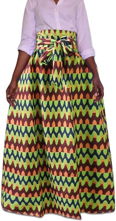 Yuandian Señoras Maxi Falda Plus Size Estilo étnico Africano Falda ...