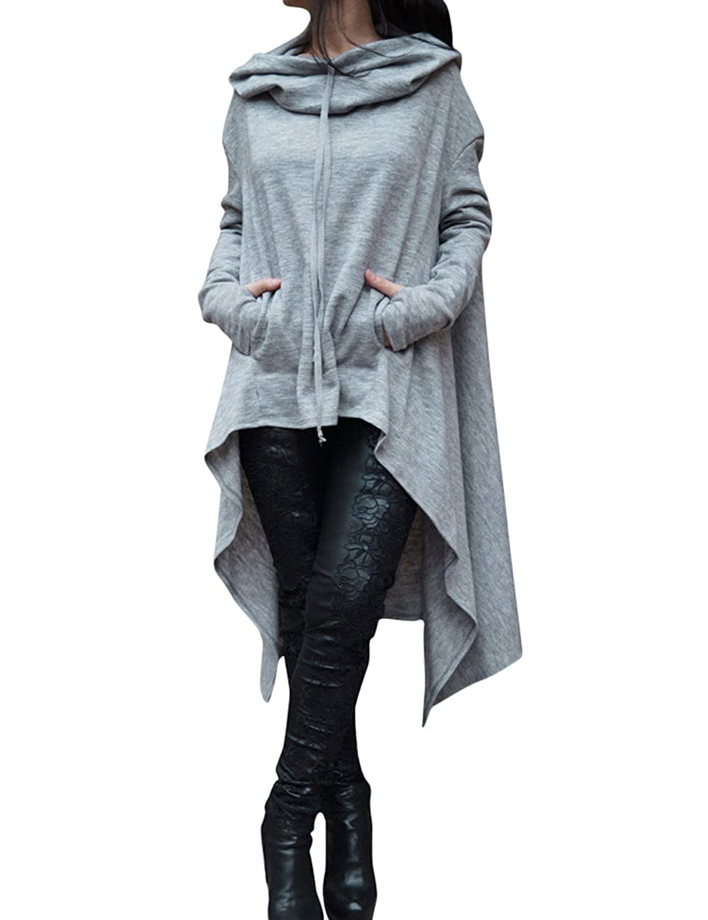 Shinekoo Women Long Sleeve Asymmetric Hooded Cloak Sweatshirt Dress Pullover