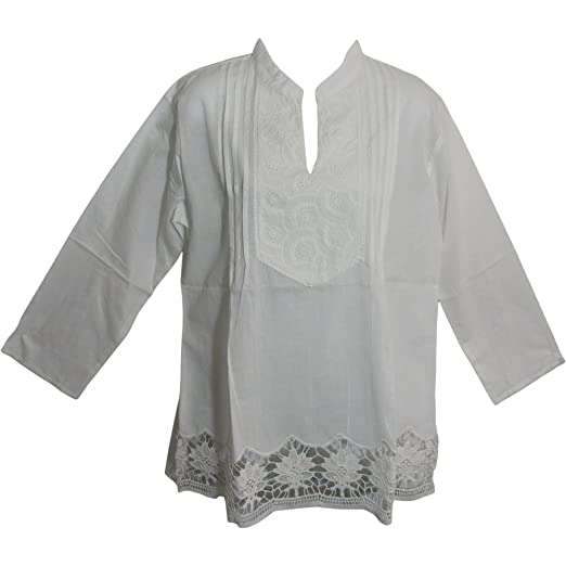 fa9d173366a1 White Missy Plus Indian Gauze Cotton Lace Cutwork Eyelet Long Sleeve Blouse  Top LD3 (Small