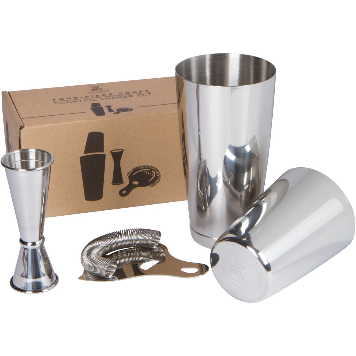 Boston Shaker Set: Professional two-piece Stainless Steel Cocktail Shaker set with Hawthorne Strainer and Japanese Jigger Top Shelf Bar Supply