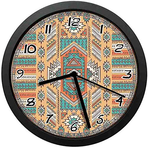 - 128 buyloii Ethnic Aztec Secret Tribe Pattern in Native American Bohemian Style Theme Art Apricot Orange and Teal Wall Clock Home Office School Clock 12in