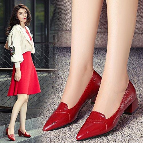 boca Otoño superficial de con Zapatos Red mujer Tacones Primavera Mujeres Zapatos puntiaguda Jqdyl gruesa qZzx7XK