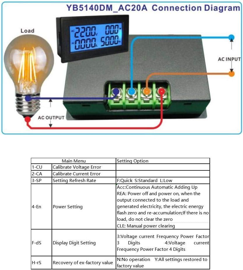 Diyeeni Amp/èrem/ètre AC Multifonctions,Tension Alternative//Courant//Puissance Active//fr/équence//Facteur de Puissance//Compteur d/énergie /électrique,M/ètre de Facteur de Puissance de voltm/ètre /à AC