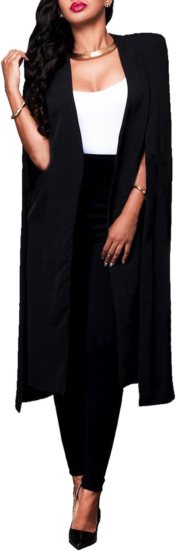 LAEMILIA Damen Jacke Poncho Cape Elegant Lang Ge/öffnet Knielang Damenmmode Fashion Vintage Umhang Blazer Mantel
