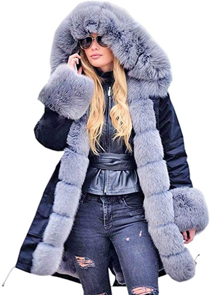 Womens Thicken Plus Size Warm Wool Coats Faux Fur Lined Winter Oversized Hooded Parka Long Jacket by Sopzxclim