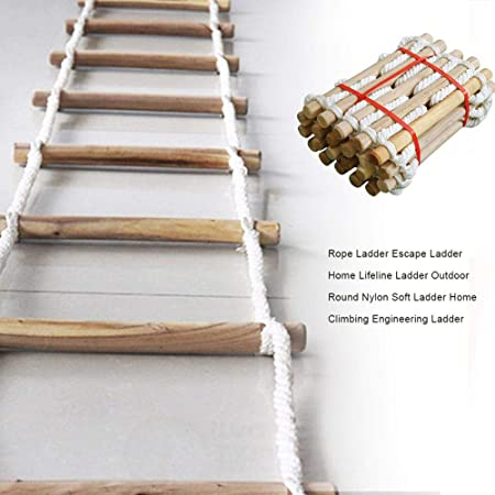 succeedw Escape Ladder Kids Rope Escalera De Madera Escalera Suave Ideal para Estructuras De Escalada Al Aire Libre, Tree House, Dens & Play House Home House Climbing Engineering: Amazon.es: Hogar