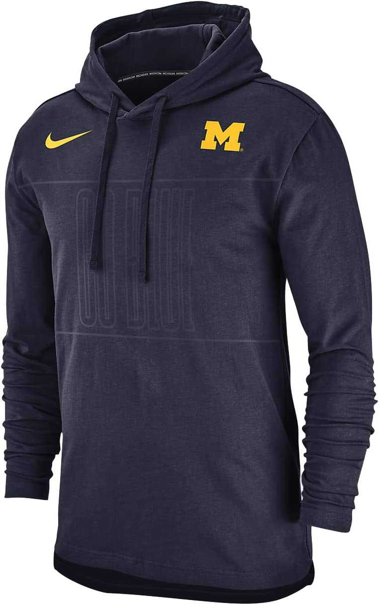 Nike Mens Michigan Wolverines Pullover Club Jersey Hoodie Medium Navy Blue