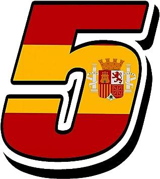 Biomar Labs® Número 5 Bandera Nacional España Spain Calavera Vinilo Adhesivo Pegatina Coche Auto Motocross Moto Sport Start Racing Tuning N 285: Amazon.es: Coche y moto