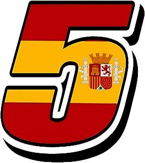 Biomar Labs® Número 1 Bandera Nacional España Spain Calavera Vinilo Adhesivo Pegatina Coche Auto Motocross Moto Sport Start Racing Tuning N 281: Amazon.es: Coche y moto
