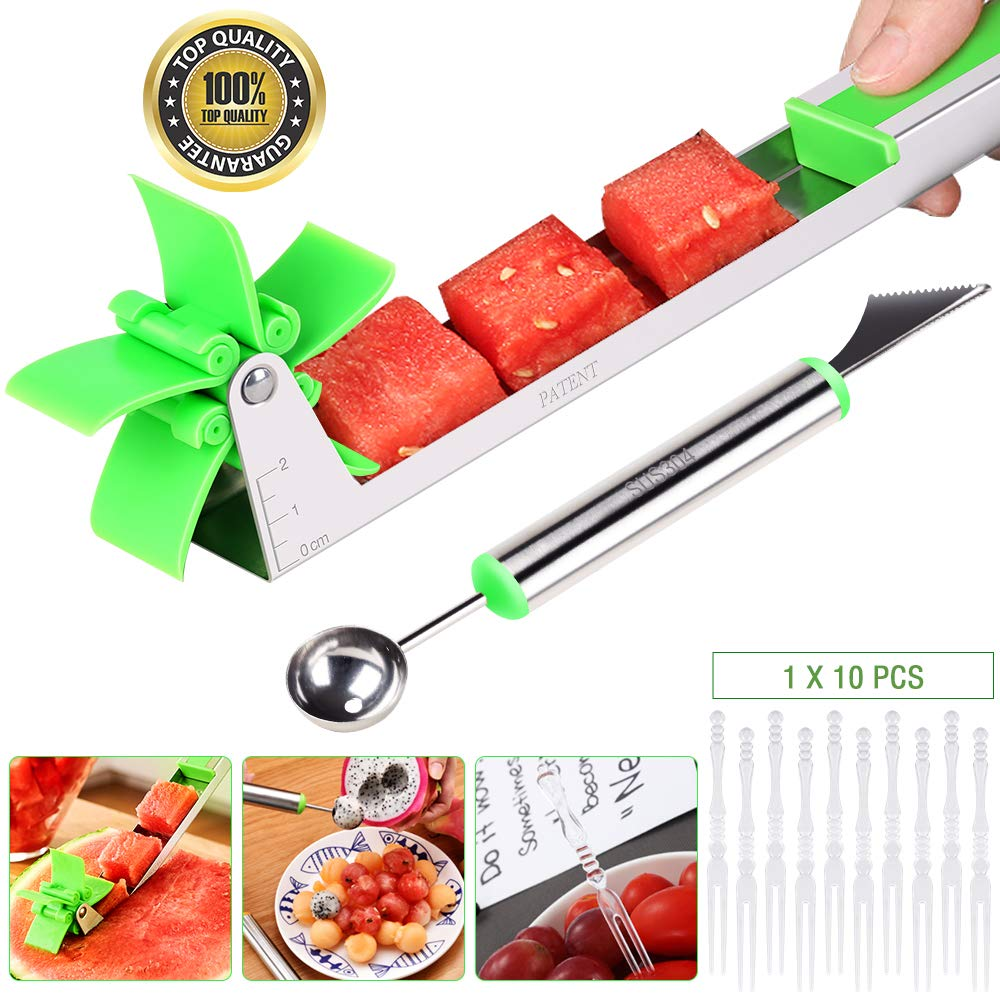 EocuSun Watermelon Slicer, Auto Stainless Steel Melon Cuber Knife, Cutter, Knife-Easy Grip Kitchen Carving and Cutting Gadgets for Home,FDA Approved(Green) by EocuSun