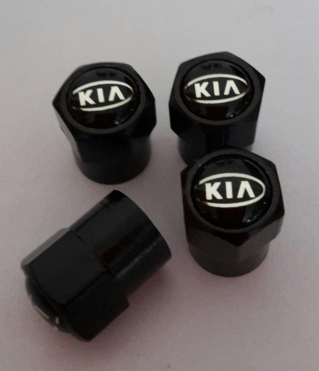 de metal Kia color negro para DustCapPICANTO RIO SOUL VENGA CEED GT CARENS OPTIMA SPORTAGE SORENTO Juego de cuatro tapones para v/álvulas de neum/áticos de coche