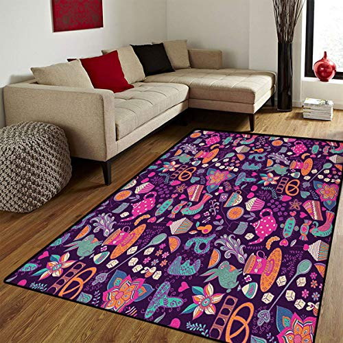 Tea Party,Door Mat Indoors,Vibrant Colored Abstract Expression of Tea Party Cupcakes Sugar Teacups and Pots,Door Mats for Inside Bathroom Mat Non Slip Backing,Multicolor,5x7 ft