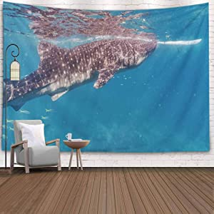 KIOAO Tapestry Wall Art Dorm Tapestry,Tapestry for Women College Tapestry Whale Shark Closeup Oslob Cebu Fed Krill Dorm Room Tapestry 80X60Inch Tapestry for Man