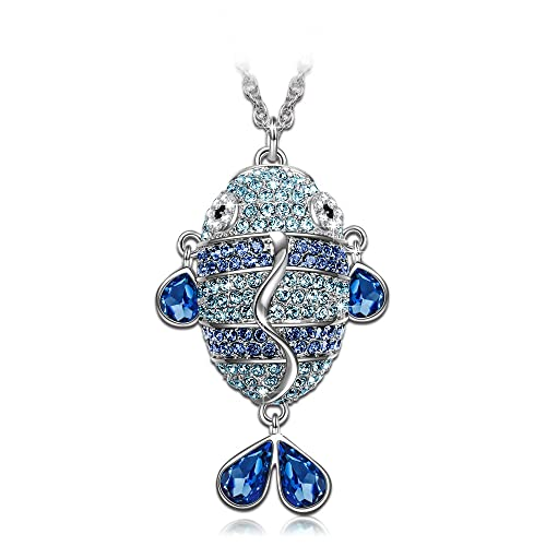 J.NINA Jewelry Crystals from Swarovski Enchanted Fish Charming Sapphire Jewelry Women Pendant Necklace Gifts for Her