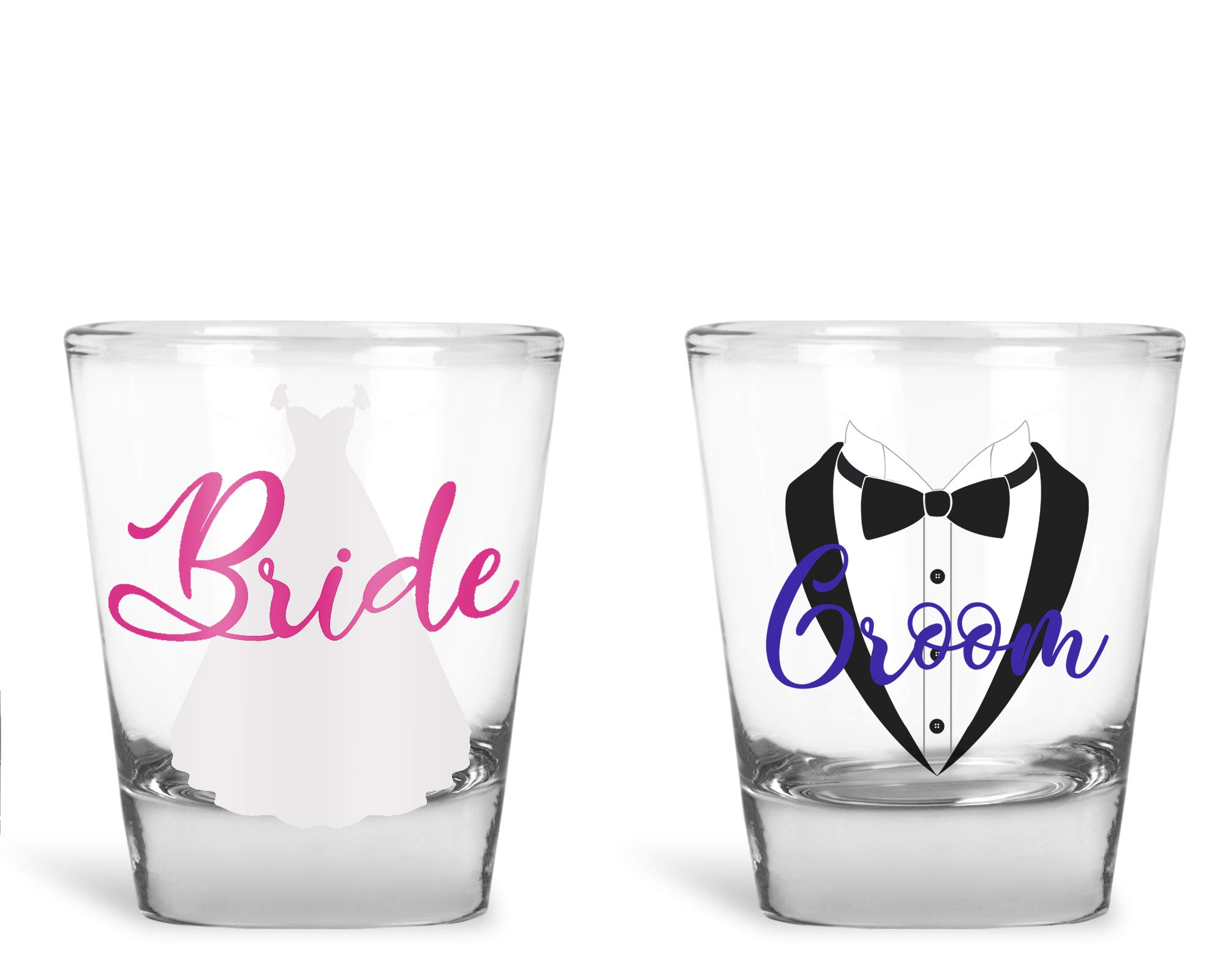 Wedding Shot Glasses - Bride and Groom Shot Glass - Groom Drinking Team Bachelor Party Wedding 2 oz (Bride and Groom) by AW Fashions